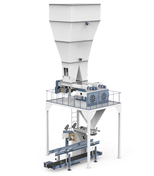 Four Station Unloading Double-Stage Weighing Rotational Robotic Flour Packing Line (25-50 Kg)5