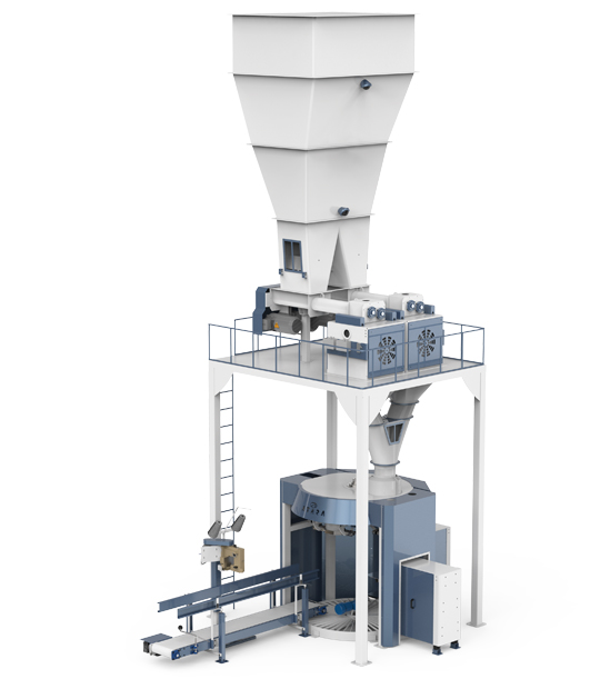 Six-Station Unloading Double-Stage Weighing Manuel Bag Place Rotational Flour Packing Line (25-50 Kg)4