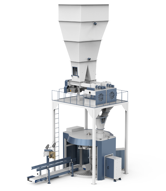 Four Station Unloading Double-Stage Weighing Rotational Robotic Flour Packing Line (25-50 Kg)2