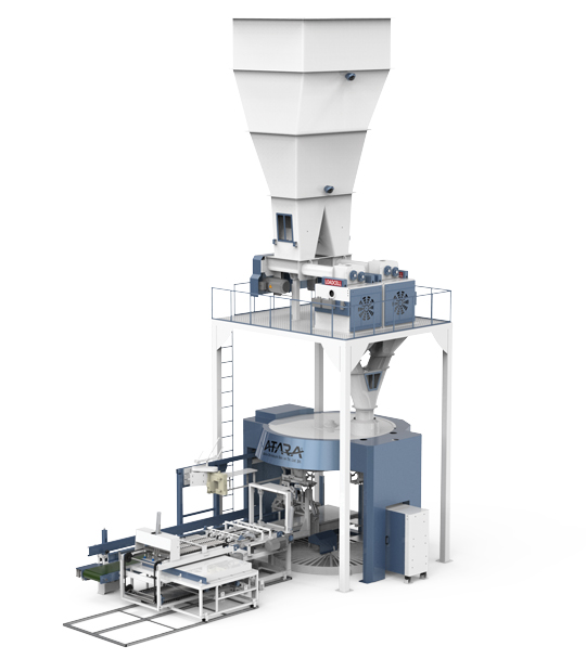 Four Station Unloading Double-Stage Weighing Rotational Robotic Flour Packing Line (25-50 Kg)