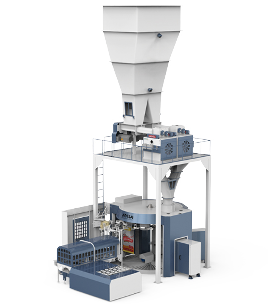 Four Station Unloading Double-Stage Weighing Rotational Robotic Flour Packing Line (25-50 Kg)9