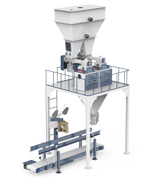 Six-Station Unloading Double-Stage Weighing Manuel Bag Place Rotational Flour Packing Line (25-50 Kg)3