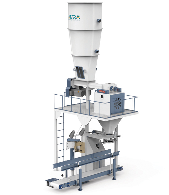 Six-Station Unloading Double-Stage Weighing Manuel Bag Place Rotational Flour Packing Line (25-50 Kg)5