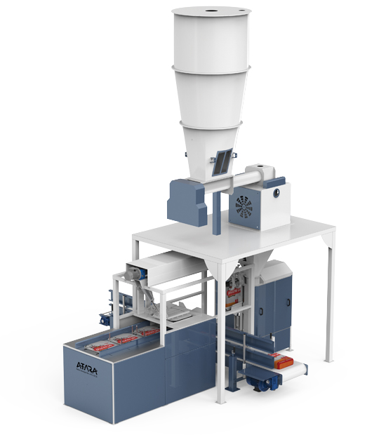 Four Station Unloading Double-Stage Weighing Rotational Robotic Flour Packing Line (25-50 Kg)4